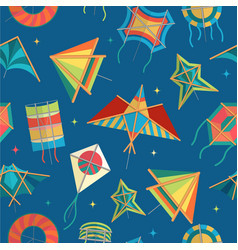 paper kites different shapes fly on sky vector image