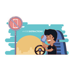 Person driving with a void distractions label vector