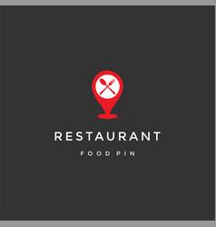 Pin map gps restaurant location logo design vector