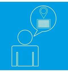 Pin map locate destination icon silhouette man vector