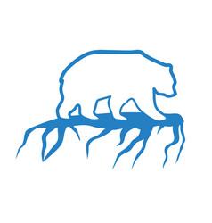 polar bear and global warming logo vector image