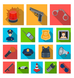 police department flat icons in set collection vector image