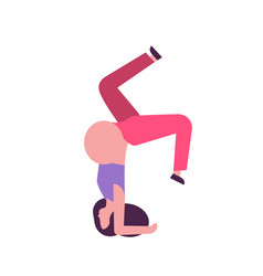 Pregnant woman standing on head doing yoga vector