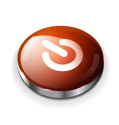 red glossy power button icon vector image