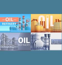 Refinery plant banner set cartoon style vector