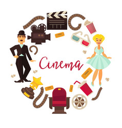 retro cinema or movie time cinematography poster vector image