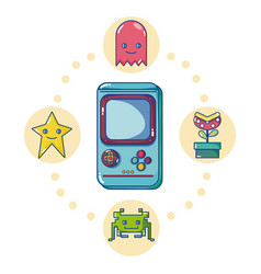 retro videogame console with characters vector image