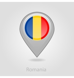 Romanian flag pin map icon vector image