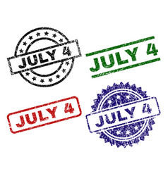 scratched textured july 4 stamp seals vector image