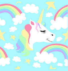seamless pattern of unicorns and rainbows vector image