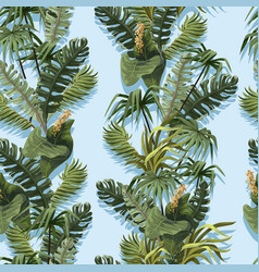 Seamless pattern with jungle trees and flowers vector