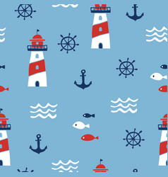 Seamless pattern with nautical design elements vector