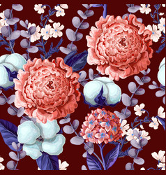 seamless pattern with peony hydrangeas vector image