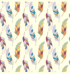 seamless pattern with various colorful feathers on vector image