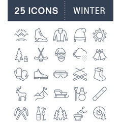 Set flat line icons winter vector