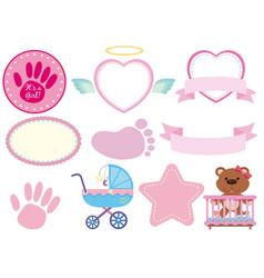 Set of pink baby sticker vector