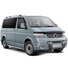 Silver passenger van vector
