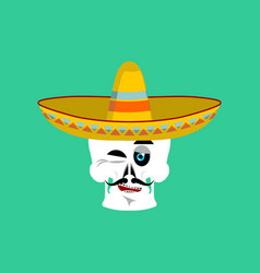 Skull in sombrero winking emoji mexican skeleton vector