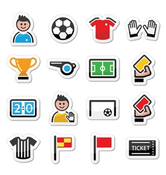 Soccer football icons set vector