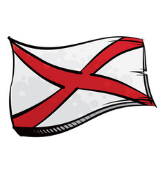 state alabama flag created in graffiti paint vector image