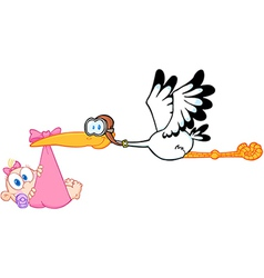 Stork Delivering A Newborn Baby Girl vector image