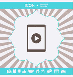 tablet with play button icon graphic elements fo vector image