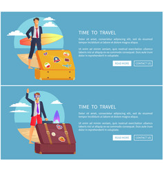 time to travel set web page vector image
