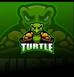 turtle esport mascot logo design vector image