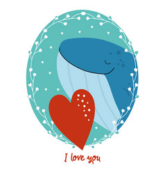 valentines day card with whale vector image