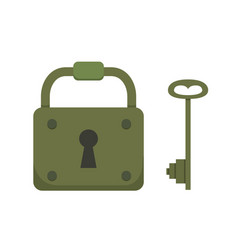 vintage key and lock cartoon vector image