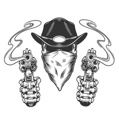 vintage monochrome cowboy skull vector image