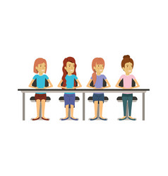 White background with teamwork of women sitting in vector