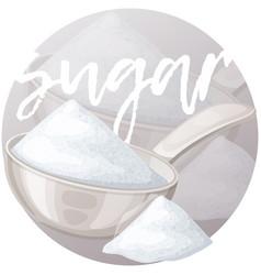 White sugar in metallic spoon cartoon icon vector