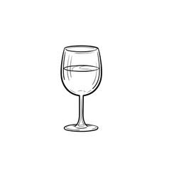 wine glass hand drawn sketch icon vector image