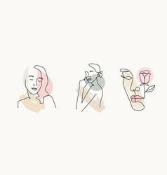 Woman line style portrait outline female body vector
