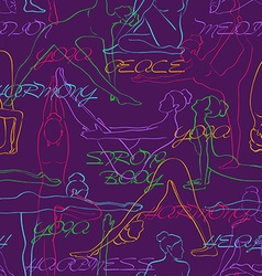 Yoga seamless pattern with colorful silhouettes of vector