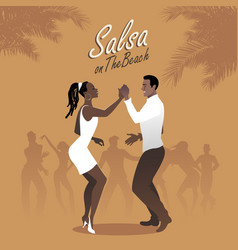 Young afro american couple dancing salsa vector