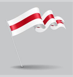 Belorussian pin wavy flag vector