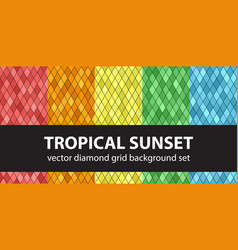 diamond pattern set tropical sunset seamless vector image vector image