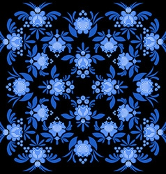 Gzhel painted pattern Floral ornament Russian vector image