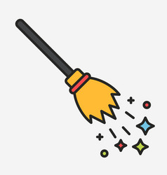 magic flying broom with sparkles linear vector image vector image