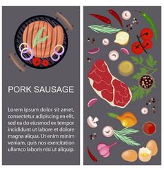 pork sausage with ingredients vector image vector image
