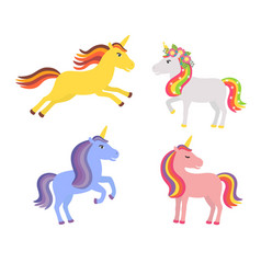 set of cute unicorns vector image vector image