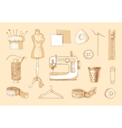 Set of sewing equipment Hand drawn vector image vector image
