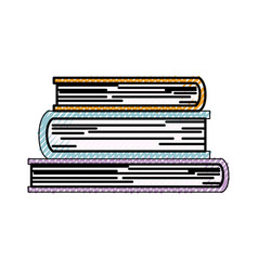 stacked books in colored crayon silhouette vector image vector image