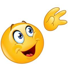 waving to sky emoticon vector image