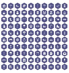 100 winter holidays icons hexagon purple vector image