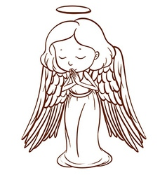 A simple sketch of an angel praying vector image