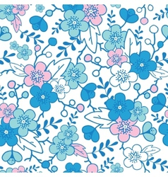 Blue and pink kimono blossoms seamless pattern vector image