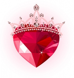 crystal heart with crown vector image